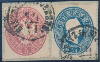 "Mixed franking on cutting ""BISTRITZ in SIEBENB:"", 1863 5kr + 1861 15kr ""BISTRITZ in SIEBENB:"""