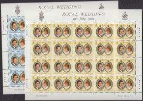 1981 Károly herceg és Lady Diana esküvője kisív sor Mi 262-263