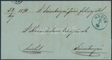 1870 Ex offo kék / blue GYÖNK - HÖGYÉSZ - SIMONTORNYA