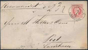 1871 5kr pár 5kr díjjegyes borítékon ajánlott levélként / 5kr pair on 5kr PS-cover as registered cover DEBRECZEN AJÁNLOTT SZ. - PEST