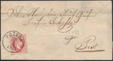 1871 5kr levélen / on cover POZEGA - DARUVÁR - kék / blue KOPRIVNICA - PEST