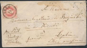 1869 5kr levélen Porosz Sziléziába / on cover to Prussian Silesia IGLÓ - KASSA - KANDRZIN ODERBERG vasúti bélyegzés / railway postmark - Liptin