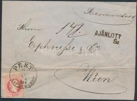 1867 5kr + 10kr ajánlott levélen / on registered cover PEST LIPÓTVÁROS - WIEN