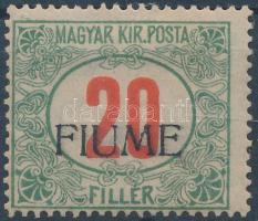 Fiume 1918 Pirosszámú portó 20f kézi felülnyomású (90.000) / Postage due Mi 11 with manual overprint. Signed: Bodor