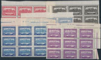 1926 Pengő-fillér (I) A sor ívszéli/ívsarki kilencestömbökben / Mi 411-426 margin or corner blocks of 9 (225.000)