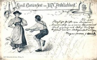 1900 Ländl. Costümfest des Handwerks- und Gewerbeverein 'Fröhlichkeit' / Wien, Costume party of a local Craft and Business Association s: Wagner, 1900 'Fröhlichkeit' Kézműves- és kereskedőszövetkezet jelmezbálja, Wien s: Wagner