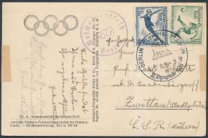 1936 Képeslap olimpiai alkalmi bélyegzéssel Csehszlovákiába / Postcard to Czechoslovakia with Olympic Games Special Cancellation