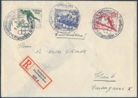 1936 Ajánlott levél Téli olimpia sorral és alkalmi bélyegzéssel Bécsbe / Winter Olympics set with special cancellation on registered cover