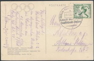 1936 Képeslap Németország - Olaszország labdarúgó mérkőzés alkalmi bélyegzéssel / Postcard with Germany - Italy football match special cancellation