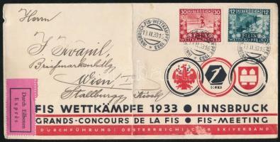 1933 Expressz levél FIS bélyegekkel és alkalmi bélyegzéssel / Express cover with FIS stamps and special cancellation