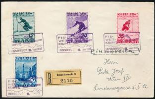 1936 FIS sor ajánlott levélen alkalmi bélyegzéssel / FIS set on registered cover with special cancellation