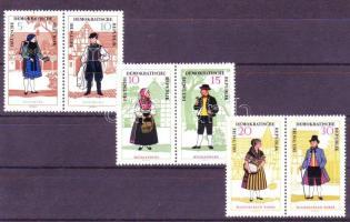 Folkwear (II) set in 3 pairs, Népviseletek (II) 3 pár (sor), Volkstrachten (II) 3 Paare (Satz )