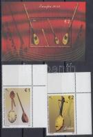 Europa CEPT Musical instruments set + block, Europa CEPT Hangszerek ívsarki sor + blokk