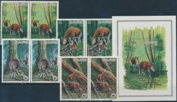 1984 WWF: Okapi sor párokban Mi 875-878 + blokk 50