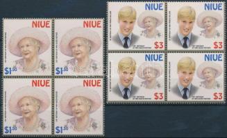 2000 Erzsébet királynő és Vilmos herceg sor négyestömbökben Mi 943-944