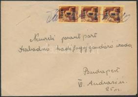 1945 (2.díjszabás) Távolsági levél Kisegítő (II) 3x1P/20f bérmentesítéssel, bélyegző hiányában a bélyegeken kézírásos helység megnevezés és keltezés