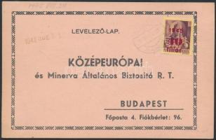 1945 (2.díjszabás) Nyomtatvány levelezőlap Kisegítő (I) 40f/24f bérmentesítéssel