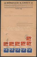 1946 (8.díjszabás) Távolsági céges levél Betűs (I) 5xHl.I/50f + 6xCs.5-I./70f bérmentesítéssel (boríték szétnyitva / opened for exposition purpose)