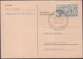 Württemberg 1949 Német síbajnokság képeslap megfelelő bélyeggel és alkalmi bélyegzéssel