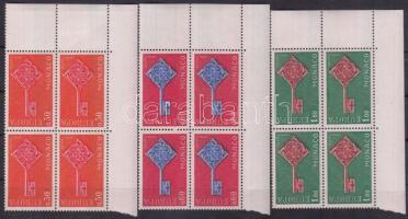 1968 Europa CEPT sor ívsarki 4-es tömbökben Mi 879-881