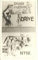 Zpusob vyucovani drive a nyni / Czechoslovakian educational methods then and now, photo of a poster, Csehszlovákia, oktatási módszerek akkor és most, fotó egy poszterről