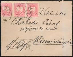 1884 5kr hármascsík ajánlott levélen Ó-STUBNYA-Körmöczbánya