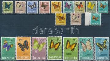 1973/1979 Lepkék sor (közte 2 színváltozat) + felülnyomott sor (közte ívszéli bélyeg) Mi 35-49 + 131-132
