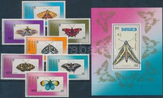 1990 Lepke sor Mi 2190-2196 + blokk 156