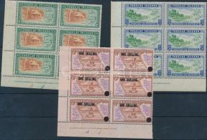 1948-1956 3 db Forgalmi érték ívsarki hatostömbökben Mi 2-3, 5