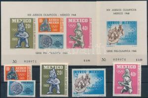 1965 Nyári olimpia sor Mi 1192-1196 + vágott blokkpár Mi 3-4