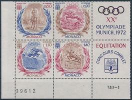 1972 Nyári olimpia ívsarki szelvényes négyestömb 1045-1048