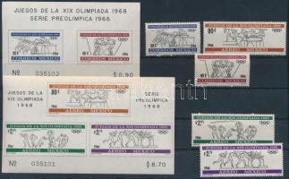 1966 Nyári olimpia sor Mi 1214-1218 + vágott blokkpár Mi 5-6