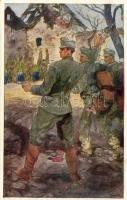 Aus dem goldenen Buche der Armee Serie III. Rotes Kreuz Postkarte Nr. 356. / K.u.K. military artist signed postcard, K.u.K. hadsereg művészeti képeslap, művész aláírásával