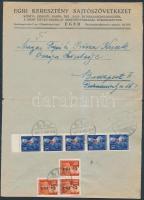 1946 (8. díjszabás) Távolsági céges levél Betűs I. Hl.I ötöscsík + 3xCs.10-I/70f bérmentesítéssel (szétnyitott boríték / opened for exposition purpose)