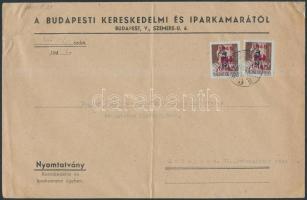 1946 (9. díjszabás) Nyomtatvány Betűs II. 2xTl.2/10f bérmentesítéssel, A5-s hajtott boríték