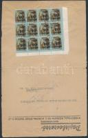 1945 (5.díjszabás) Távolsági céges levél Kisegítő II. 10P/80f ívsarki 12-es tömbbel bérmentesítve, ELLENŐRIZVE bélyegzéssel (szétnyitott boríték / opened for exposition purpose)