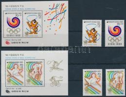 1985 Nyári olimpia, 1988 2 klf sor Mi 1400-1401 + 1427-1428 + 2 klf blokk 500 + 508