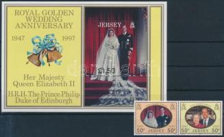 1997 II. Erzsébet királynő és Fülöp herceg esküvője pár Mi 809-810 + blokk Mi 16