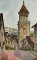 Waiblingen, Hochwachtturm / tower, artist signed