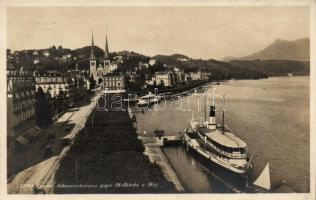 Lucerne, Luzern; church, port, steamship