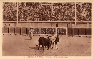 Nimes, Arena, bullfight, torreador Une belle Veronique