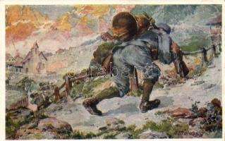 K.u.K. hadsereg, művészeti képeslap, s: A. Marussig, Aus dem goldenen Buche der Armee Serie II. Rotes Kreuz Postkarte Nr. 262. / K.u.K. military art postcard s: A. Marussig
