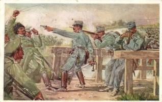 Aus dem goldenen Buche der Armee Serie II. Rotes Kreuz Postkarte Nr. 261. / K.u.K. military art postcard, artist signed, K.u.K. katonai művészeti képeslap, művész aláírásával