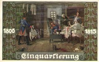 1806-1818 Einquartierung; Bund der Deutschen in Böhmen / German military art postcard s: E. Kutzer, 1806-1818 Német katonai művészeti képeslap, s: E. Kutzer
