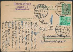 1957 Díjkiegészített díjjegyes válaszos levelezőlap tőlapja Szegedre