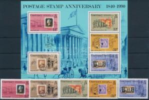 1990 150 éves a bélyeg sor Mi 487-491 + blokk 6