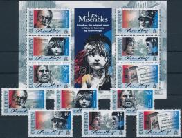 2002 Victor Hugo születésének 200. évfordulója sor Mi 919-924 + blokk 29