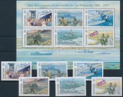 2007 A falklandi háború 25. évfordulója sor Mi 1124-1129 + blokk Mi 44