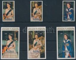 1986 II. Erzsébet 60. születésnapja sor Mi 1105-1107 + blokksor 167-169