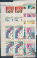 1990 Papagájok sor ívsarki négyestömbökben Mi 2182-2188